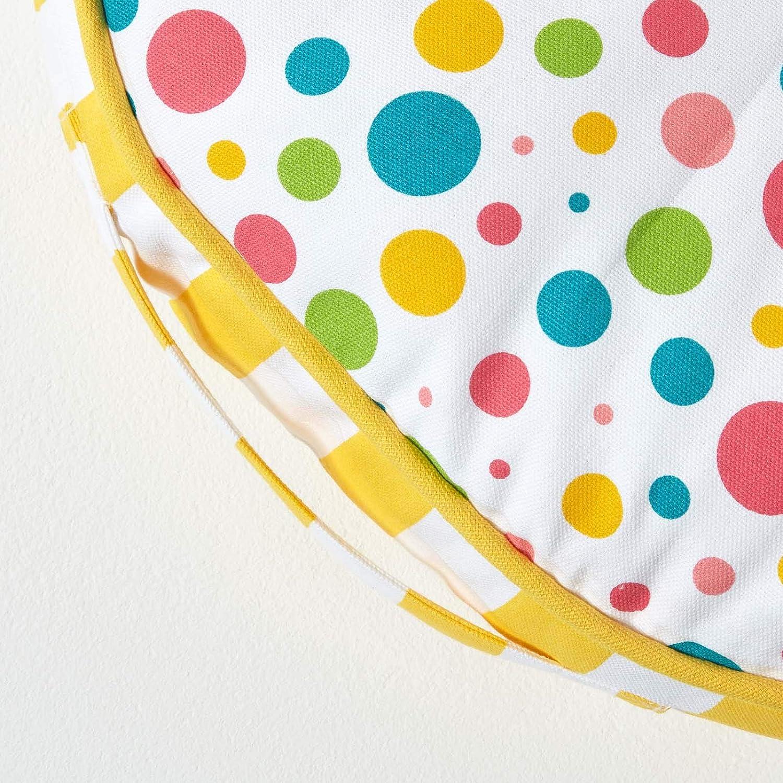 Homescapes Kinder Sitzkissen rund 100/% Baumwolle mit Polyester F/üllung Tupfen bunt /Ø 43 cm