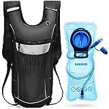 RANIACO Mochila de hidratación, Pack de hidratación para Correr con 2 l de Bolsa de Agua para Ciclismo, Camping, Senderismo, Escalada