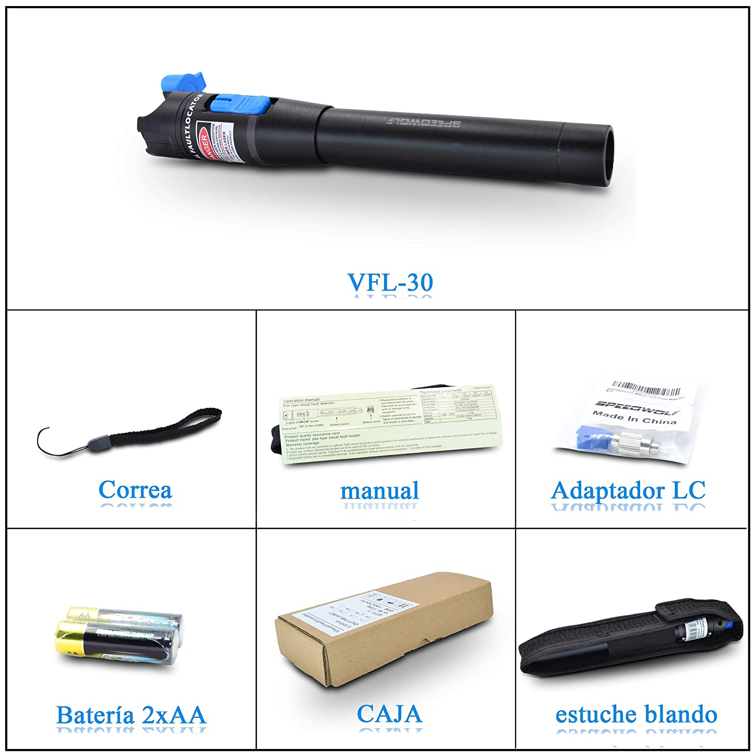 // Red Light Source Fiber Optic Cable Test Tool for SC,FC,ST Adapter VFL 18.6mi SPEEDWOLF 650nm 30KM Pen-Type Red Light Visual Fault Locator