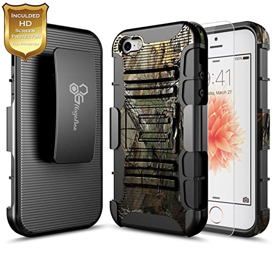 newest collection ddec9 77141 NageBee iPhone 5C Case with Screen Protector, Belt Clip Holster Case with  Built-in Kickstand Full-Body Shockproof Armor Heavy Duty Protective Rugged  ...