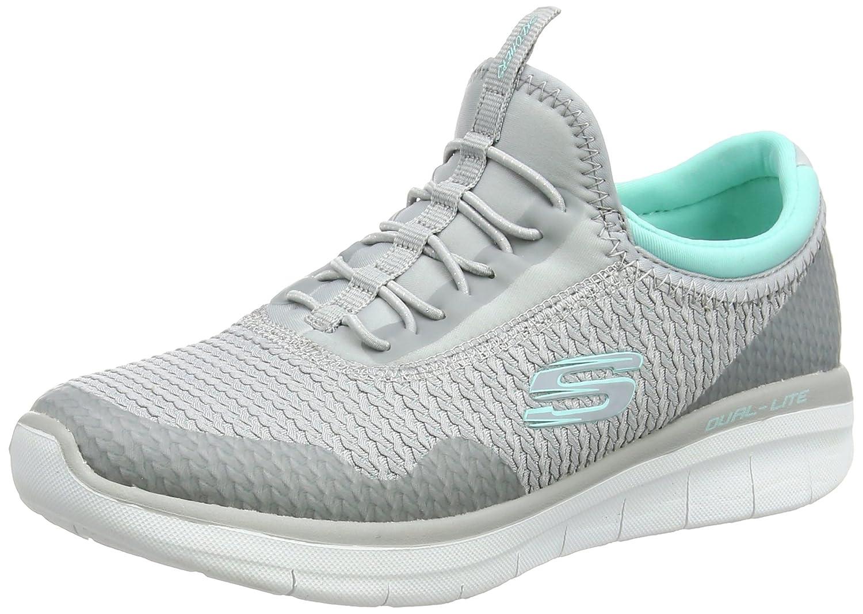Skechers Womens Synergy 2.0 mirror image Low Top Pull On Walking Shoes B01N9U25RD Grey-mint 9 B(M) US