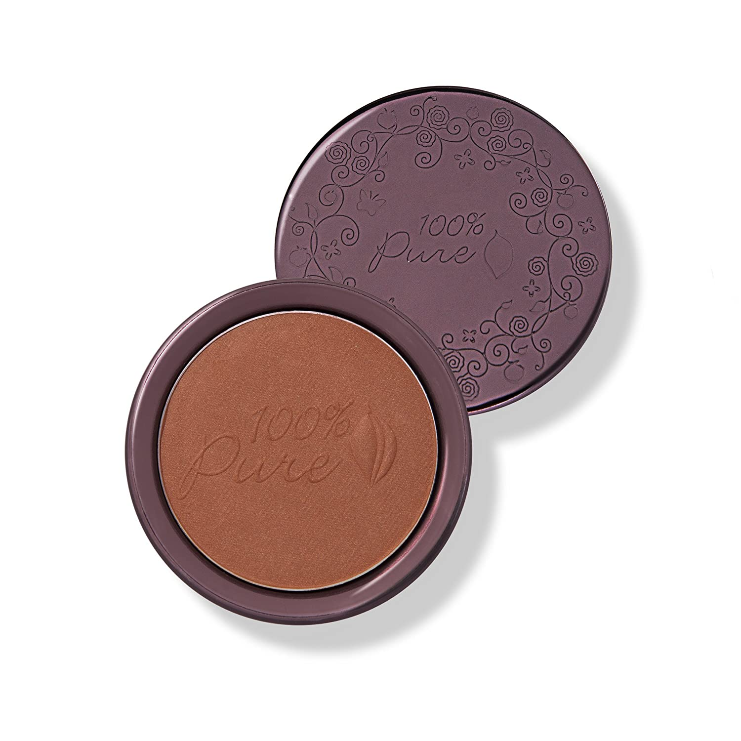 100 PURE Cocoa Pigmented Bronzer, Cocoa Glow, Bronzer Powder for Face, Contour Makeup, Soft Shimmer, Sun Kissed Glow Deep Brown w Gold-Red Undertones – 0.32 Oz