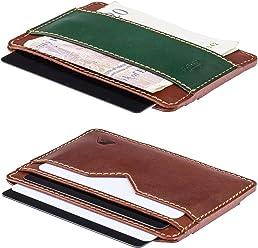 A-SLIM Sunnari Slim Card and Cash Wallet - XSW37 (Havanna Tan/Rainforest Green)