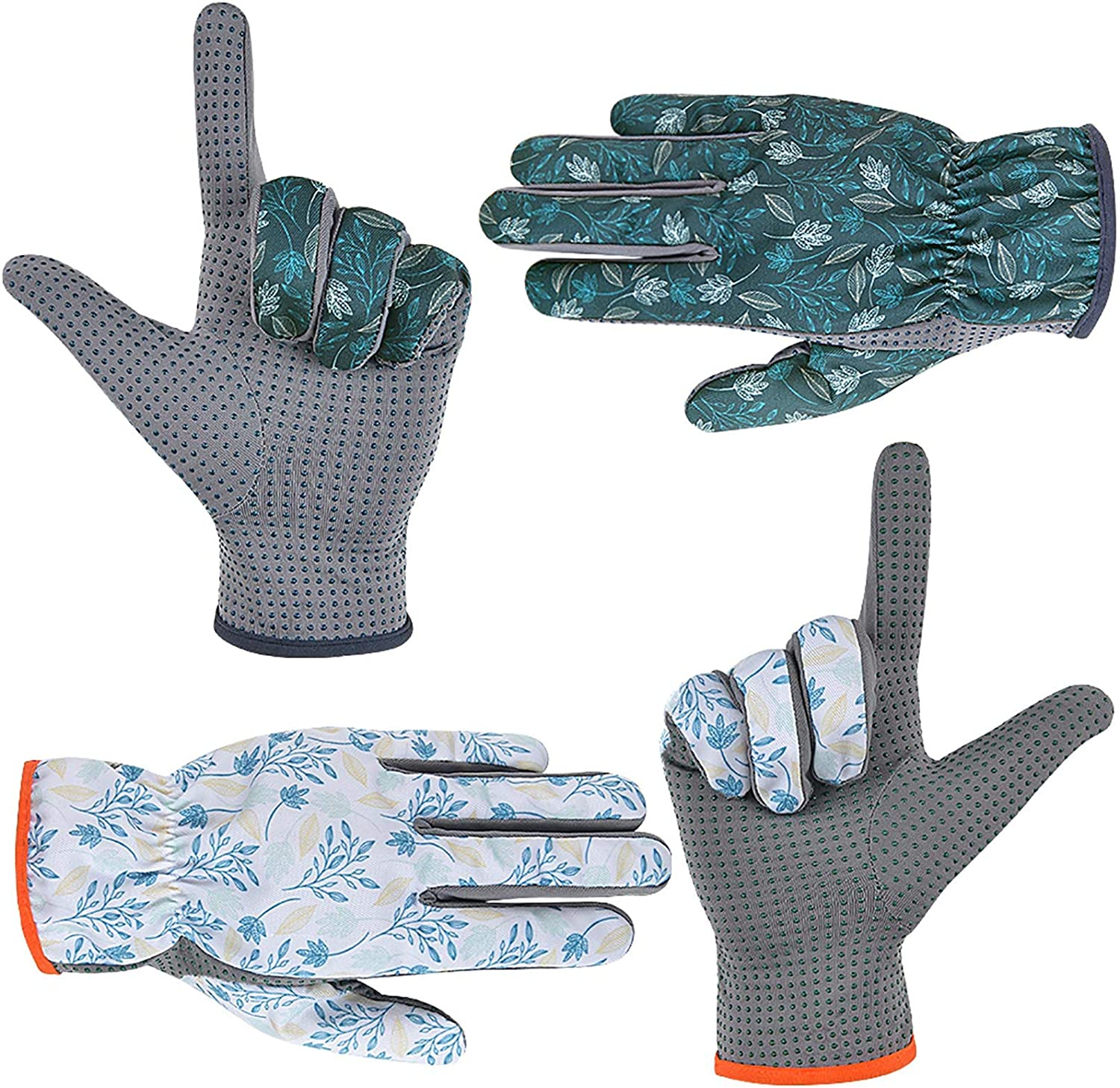 SEUROINT Gardening Gloves for Men and Women, Garden Work Gloves with PVC Dots, 2 Pairs Lightweight Breathable Polyester Gloves, Dark blue & White, Medium Size