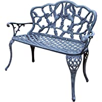Oakland Living Hummingbird Cast Aluminum Love Seat Bench, Verdi Grey
