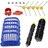 DerBlue For iRobot Roomba 770, 780, 790, 650, 630, 620,595 Vacuum Cleaner Accessories, Include with 1Pcs Flexible Beater Brush,1Pcs Bristle Brush,5Pcs Filters, 5Pcs 3-Armed Brushes, Cleaing tool