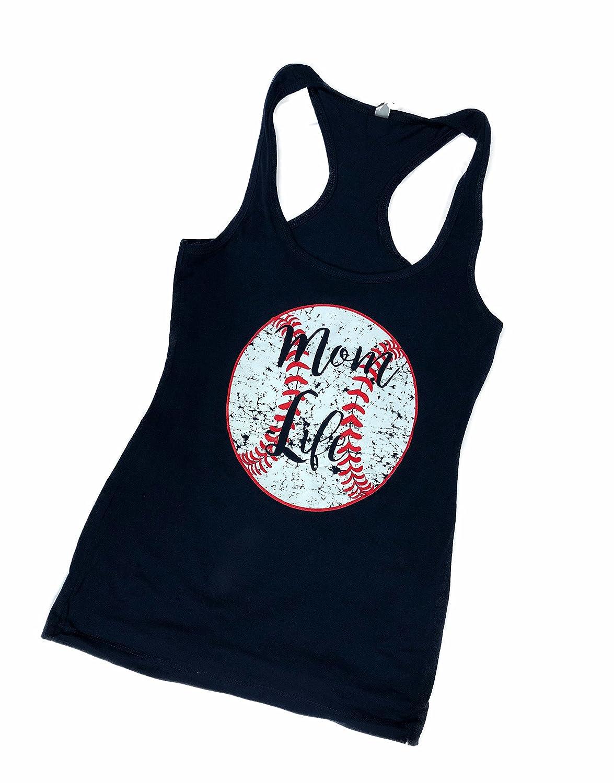 Navy Devious Apparel Mom Life 6633 TM09 Fitted Poly Blend Tank Baseball Softball Team Mom Tee Printed Women's