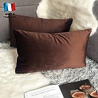 Douceur De Plumes Juego de 2 Fundas de cojín Chocolate 30x50 Terciopelo Decorativo Liso, Suave y Moderna Funda de…
