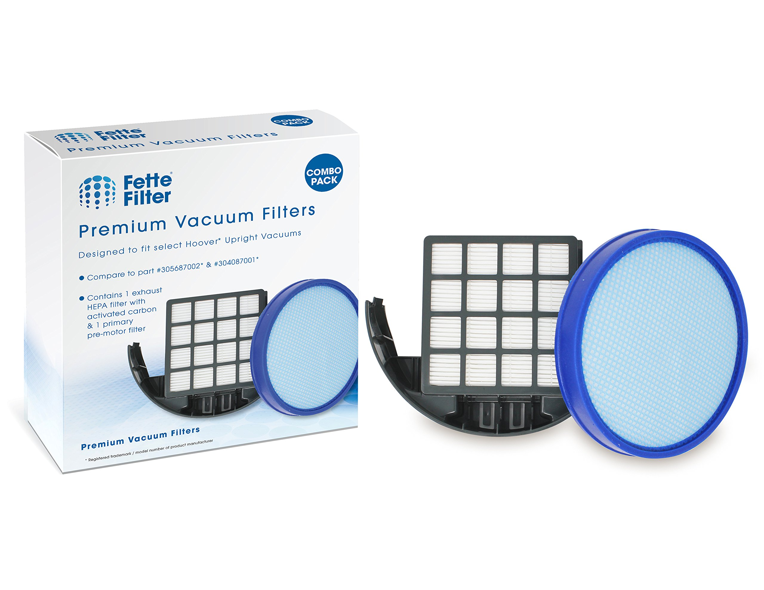 Fette Filter - Vacuum Filter Kit Compatible with Hoover 304087001 & 305687002 WindTunnel 3 High Performance Pet Upright