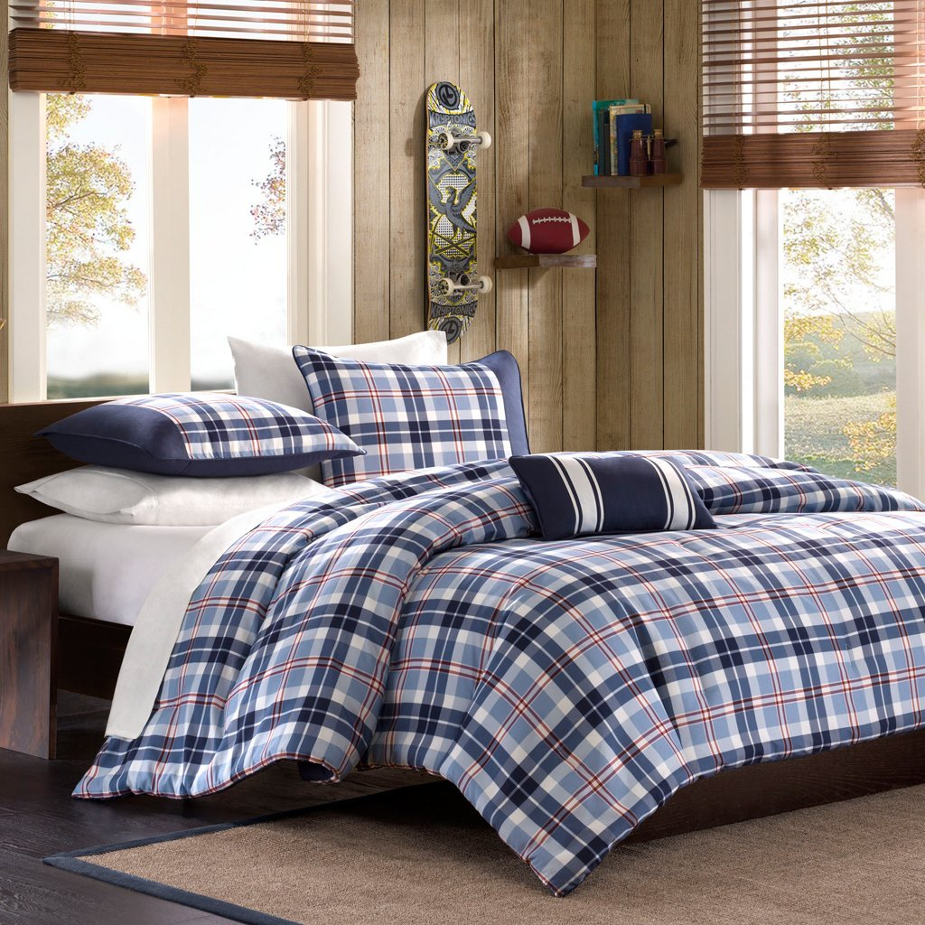 Full Queen Twin Comforter Bed Set Teen Bedding Modern Contemporary Blue Navy Plaid Bedspread