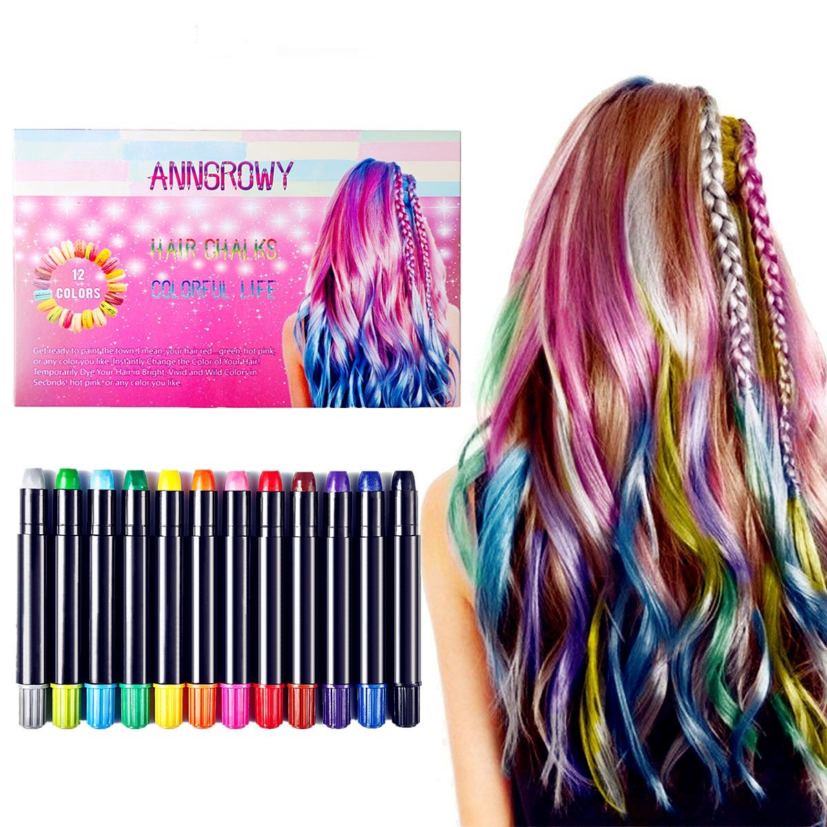 Hair Chalk for Girls Temporary Hair Color 12 Colors Non-Toxic Washable Hair Chalk Pens for Dark Hair and Blonde Brown Auburn Hair Birthday Gifts Present For Girls Hair Dye for Girls by anngrowy