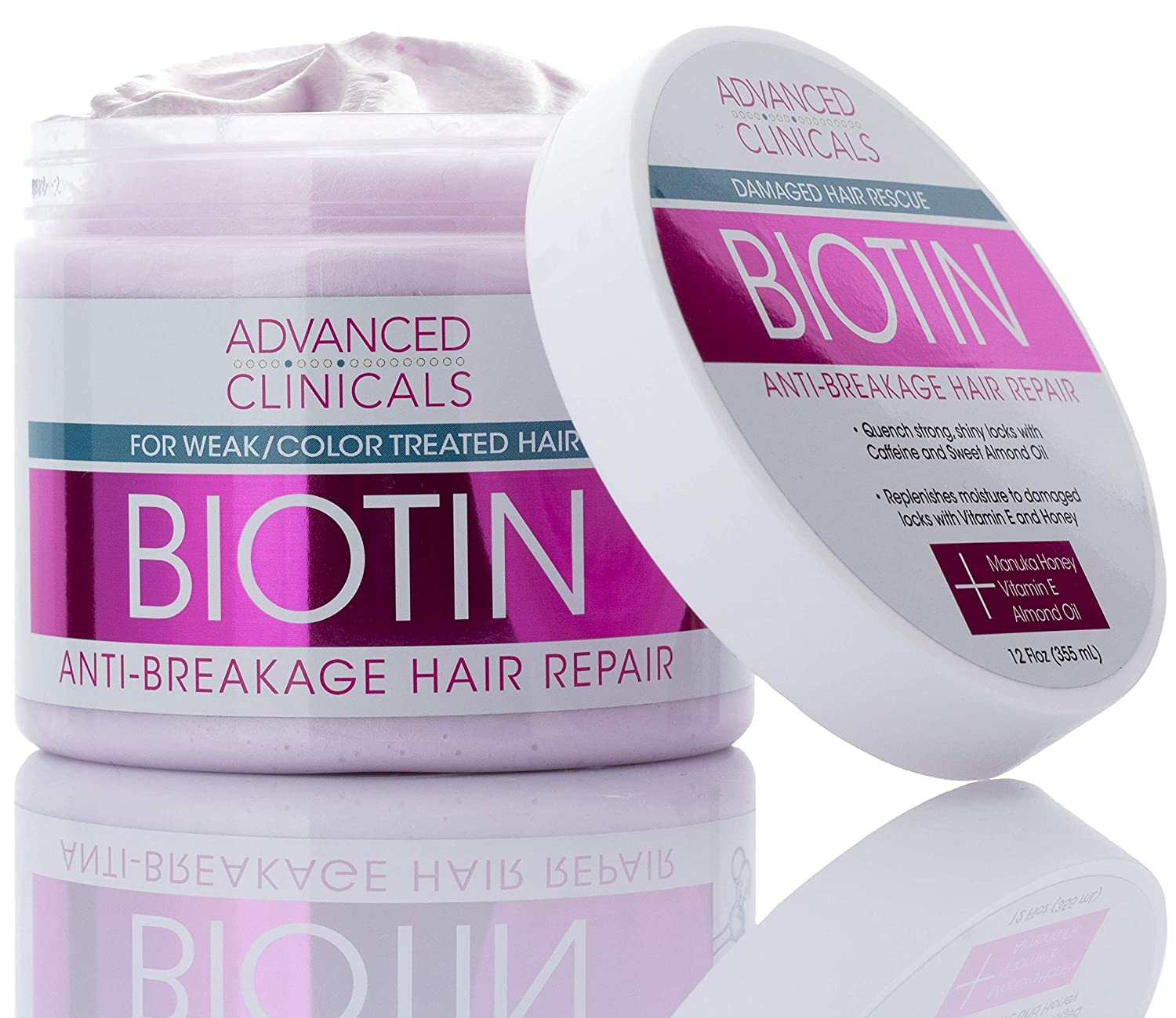 Advanced Clinicals Biotin Anti-Breakage Hair Repair Mask. Strengthen Broken, Color-Treated Hair with Repairing Deep Conditioner Manuka Honey & Caffeine. Hydrating Mask Restores Weak Hair, 12 oz.