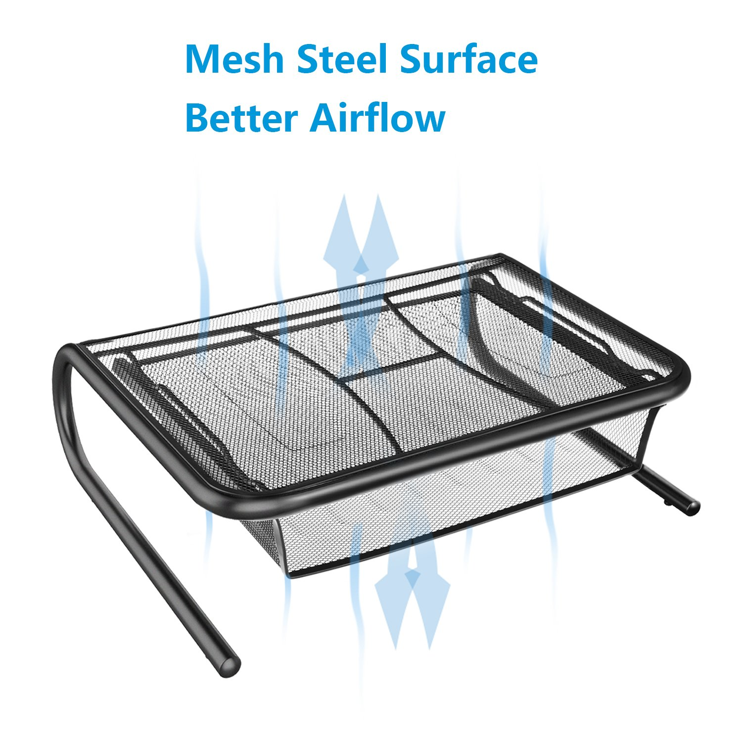 Monitor Stand Riser with Pull Out Storage Drawer - Mesh Metal Printer Holder with Ventilated Surface for Computer, Laptop, Printers - Keeps Your Devices Cool & Prevents Overheating - Premium Computer by HUANUO (Image #6)