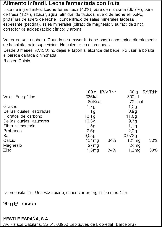 Nestlé Yogolino Postre lácteo Bolsitas con Manzana y Fresa - Para bebés a partir de 8 meses - Paquete de 16 unidadesx90g: Amazon.es: Alimentación y bebidas