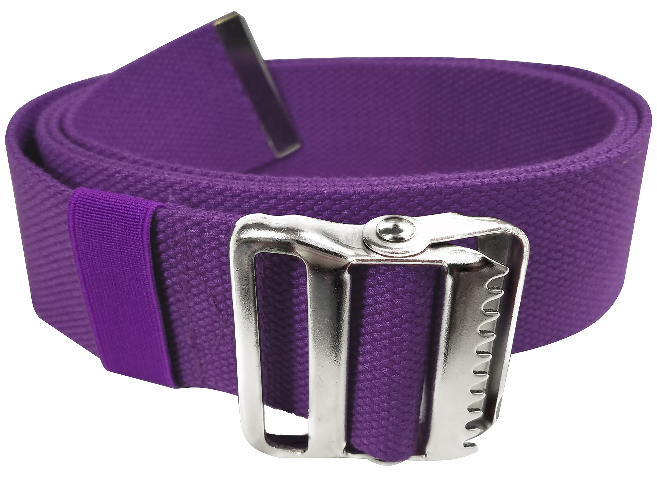 LiftAid Walking Gait Belt and Patient Transfer with Metal Buckle and Belt Loop Holder for Nurse, Caregiver, Physical Therapist (Purple, 60'')