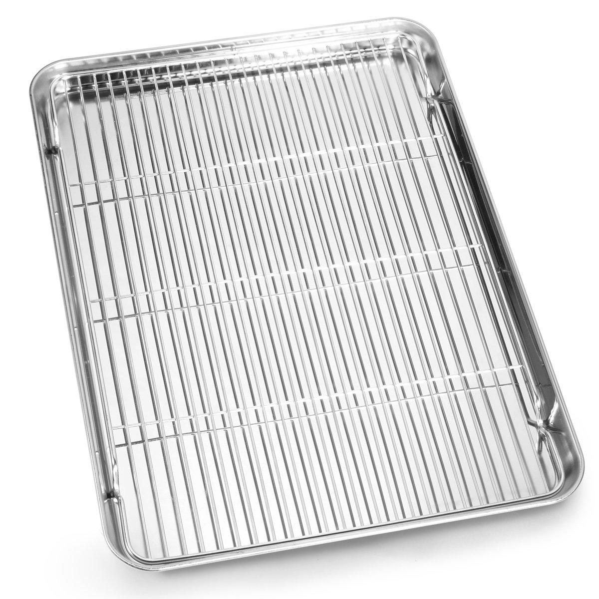 Baking Sheet and Rack Set, Bastwe Stainless Steel Cookie Sheet Baking Pan with Cooling Rack Set, Rectangle Size 16×12×1 inch, Non Toxic & Healthy, Mirror Finish & Rust Free, Dishwasher Safe