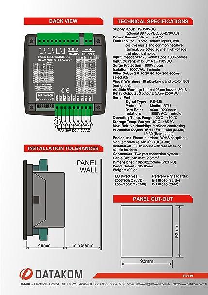 DATAKOM DKM-0208 Alarma anunciador, 8ch, fuente de alimentacion de CC: Amazon.es: Industria, empresas y ciencia