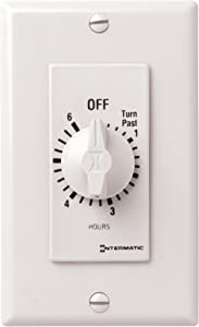Intermatic FD46HW 6-Hour Spring-Loaded Wall Timer for Fans and Lights, White