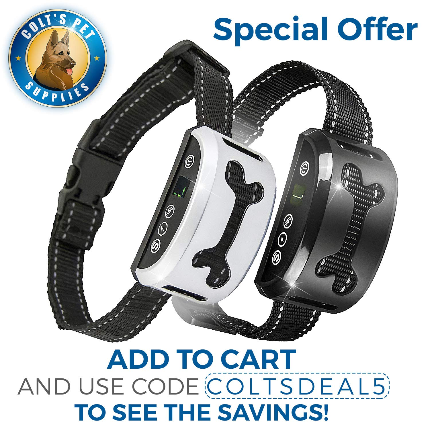 Bark Collar 2 Pack [Upgraded] | Anti-Barking Collar | Smart Chip | Beeps/Vibration/Shock Mode | For Small Medium and Large Dogs All Breeds Over 6 Lbs by Colt's Pets Supplies