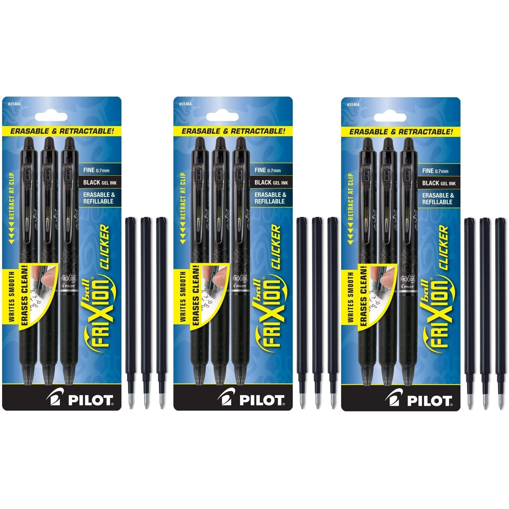 Pilot FriXion Clicker Retractable Erasable Gel Pens, Fine Point, Blue Ink, 2-Pack (31461) (9-Pack/Bundle, Black)
