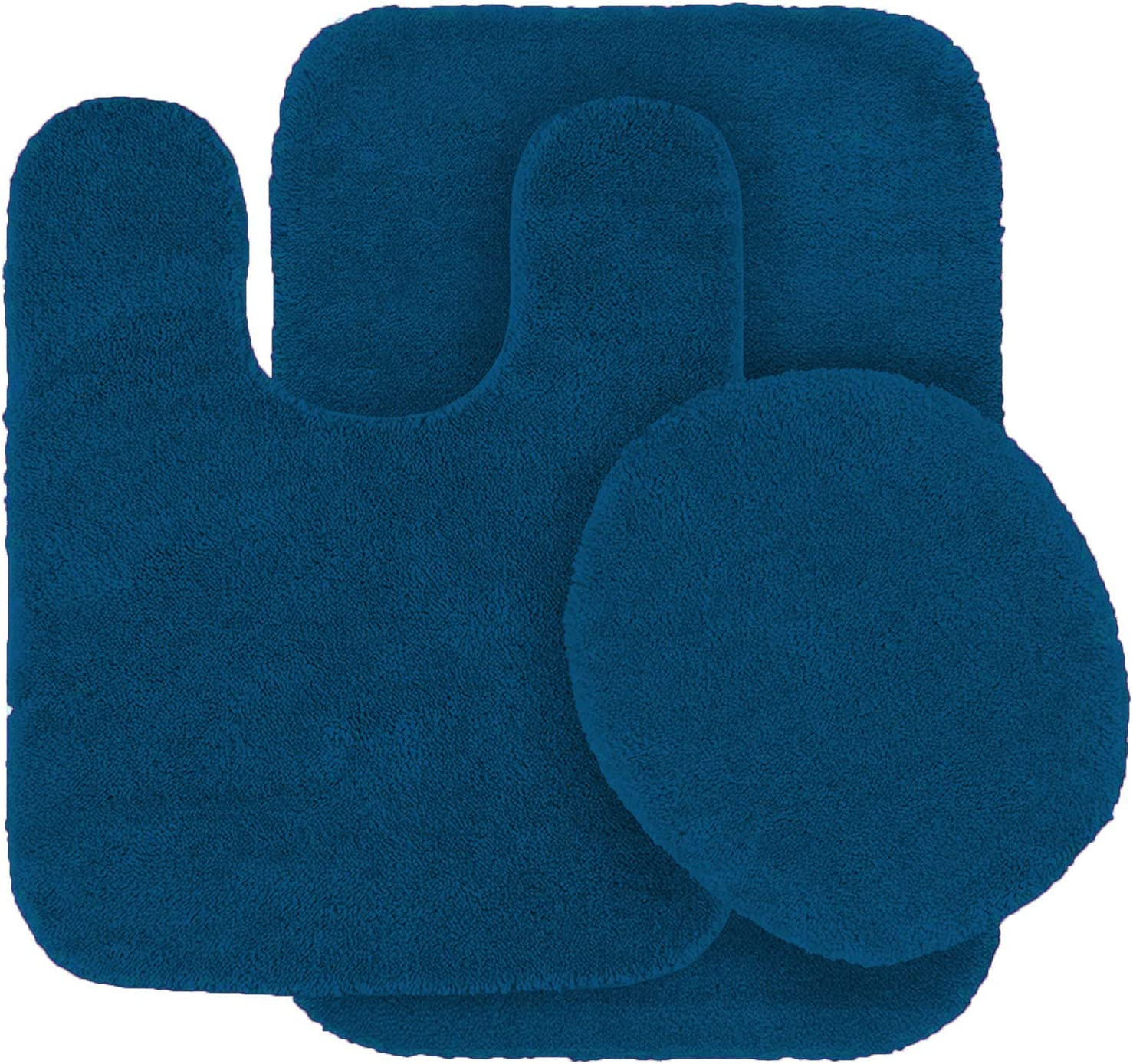 Mk Home Collection 3 Piece Bathroom Rug Set Bath Rug, Contour Mat, & Lid Cover Non-Slip with Rubber Backing Solid Royal Blue New
