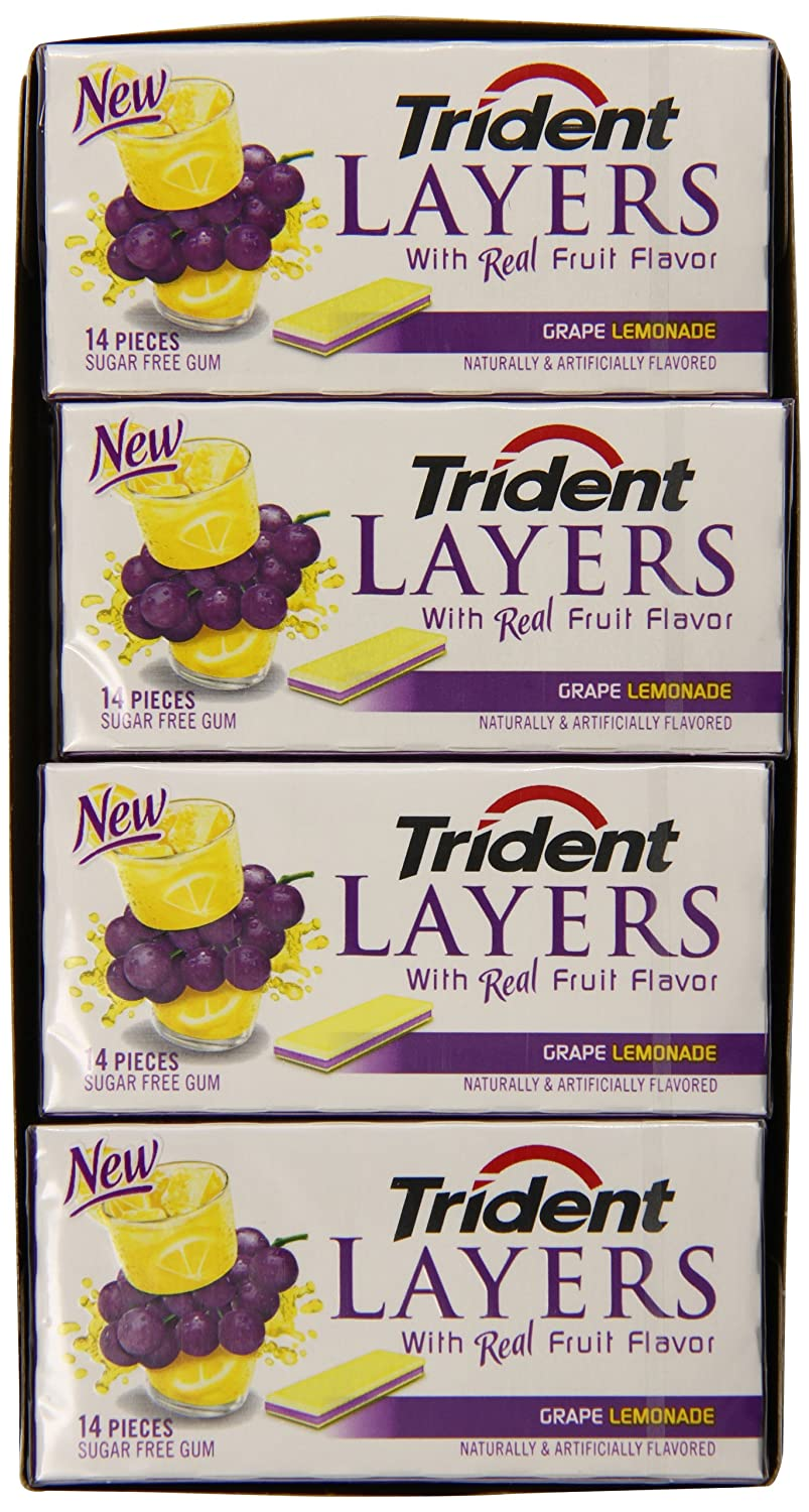 amazon com trident layers sugar free gum grape lemonade 14