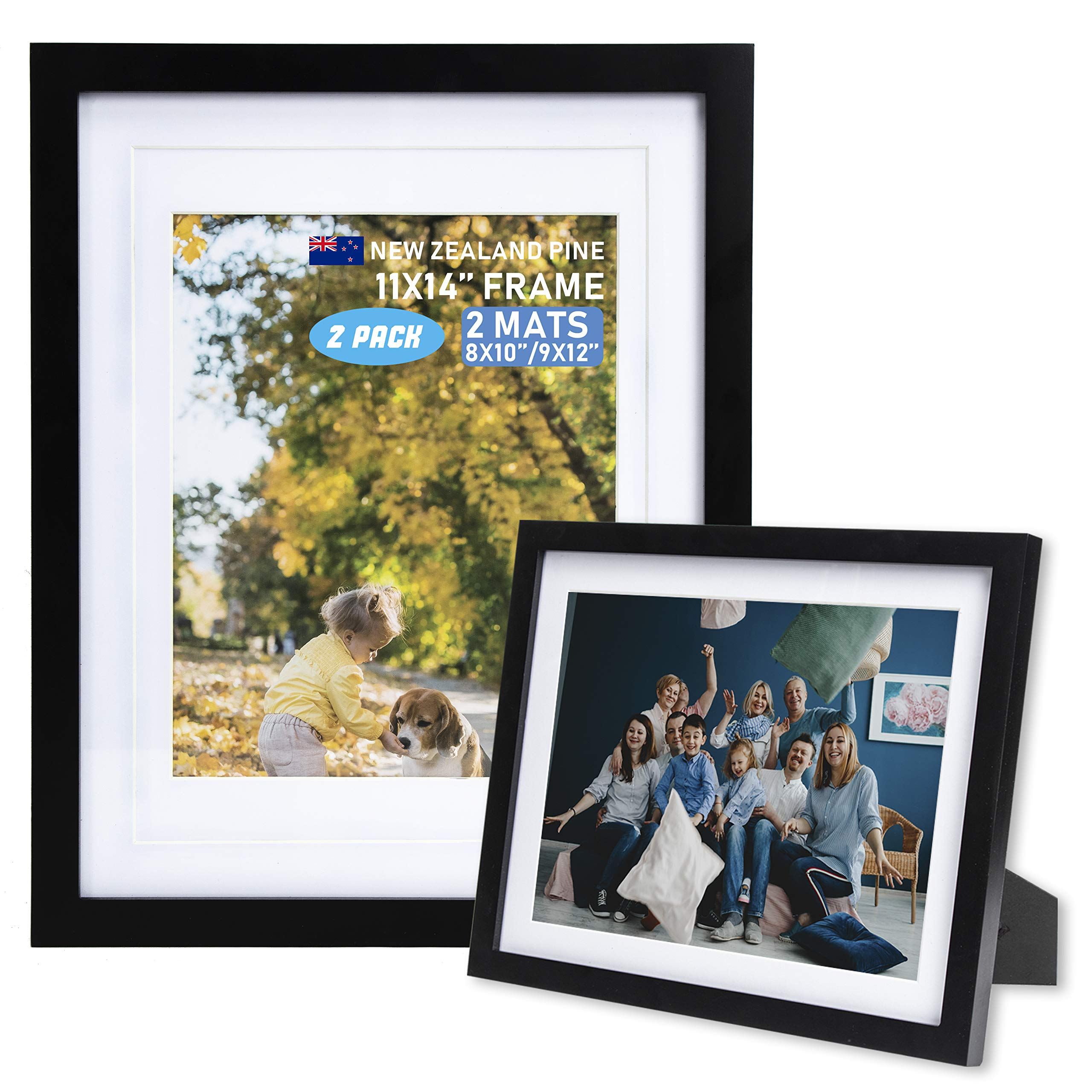 Beyond Your Thoughts Wood + Real Glass (Hang/Stand) 11X14 Black Picture Photo Frame with Matted for 8X10 or 9x12 Photo for Wall and Table Top-Mounting Hardware Included(2 Pack)