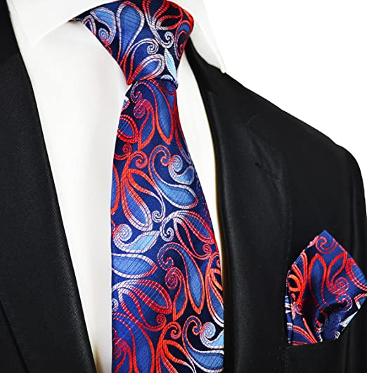 30699eeb6982 Amazon.com: Navy and Red Silk Tie and Pocket Square Paul Malone Red Line:  Clothing