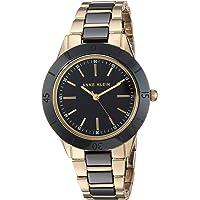Anne Klein 女士 AK/3160BKGB 金色黑色陶瓷手链手表