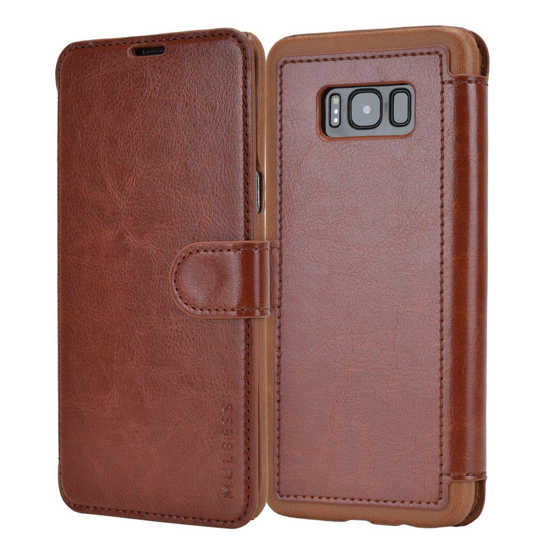 Samsung Galaxy S8 Plus Case,Mulbess Leather Case, Flip Folio Book Case, Money Pouch Wallet Cover for Samsung Galaxy S8 Plus,Coffee Brown