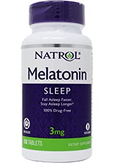 Natrol Melatonin 3 mg Sleep Time Release Dietary Supplement Tablets 100 ea (Pack of 4