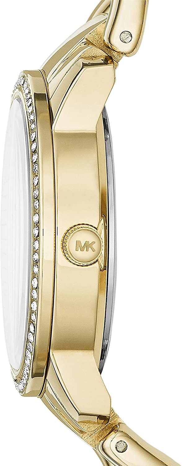 Michael Kors Women s Lady Nini Chain Watch, three hand quartz movement with crystal bezel