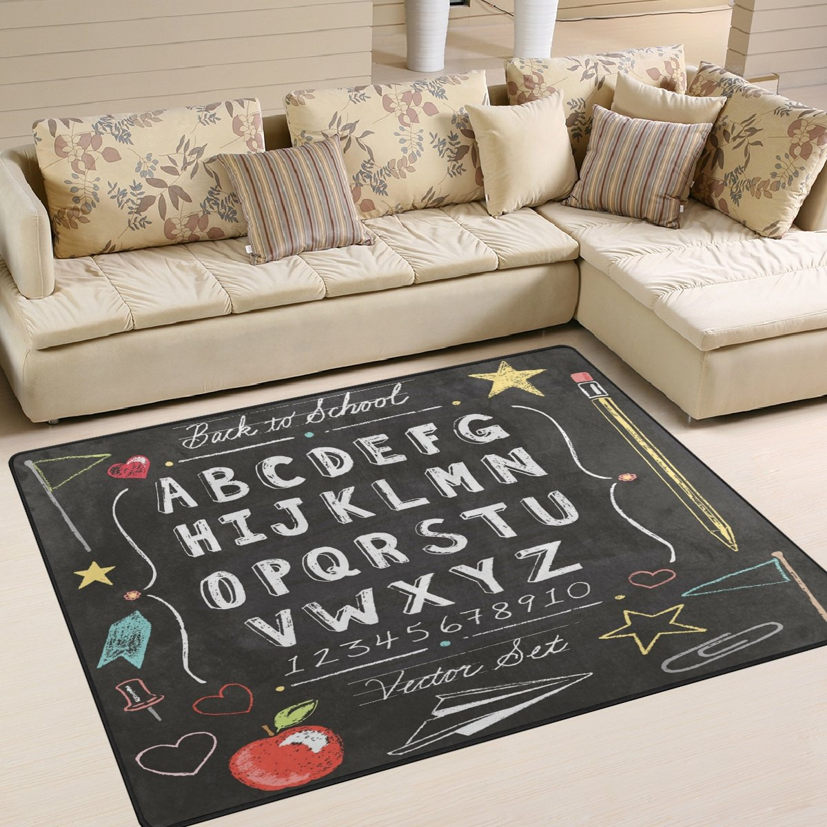 ALAZA Vintage Back to School Alphabet ABC Area Rug Rugs for Living Room Bedroom 5'3 x 4'