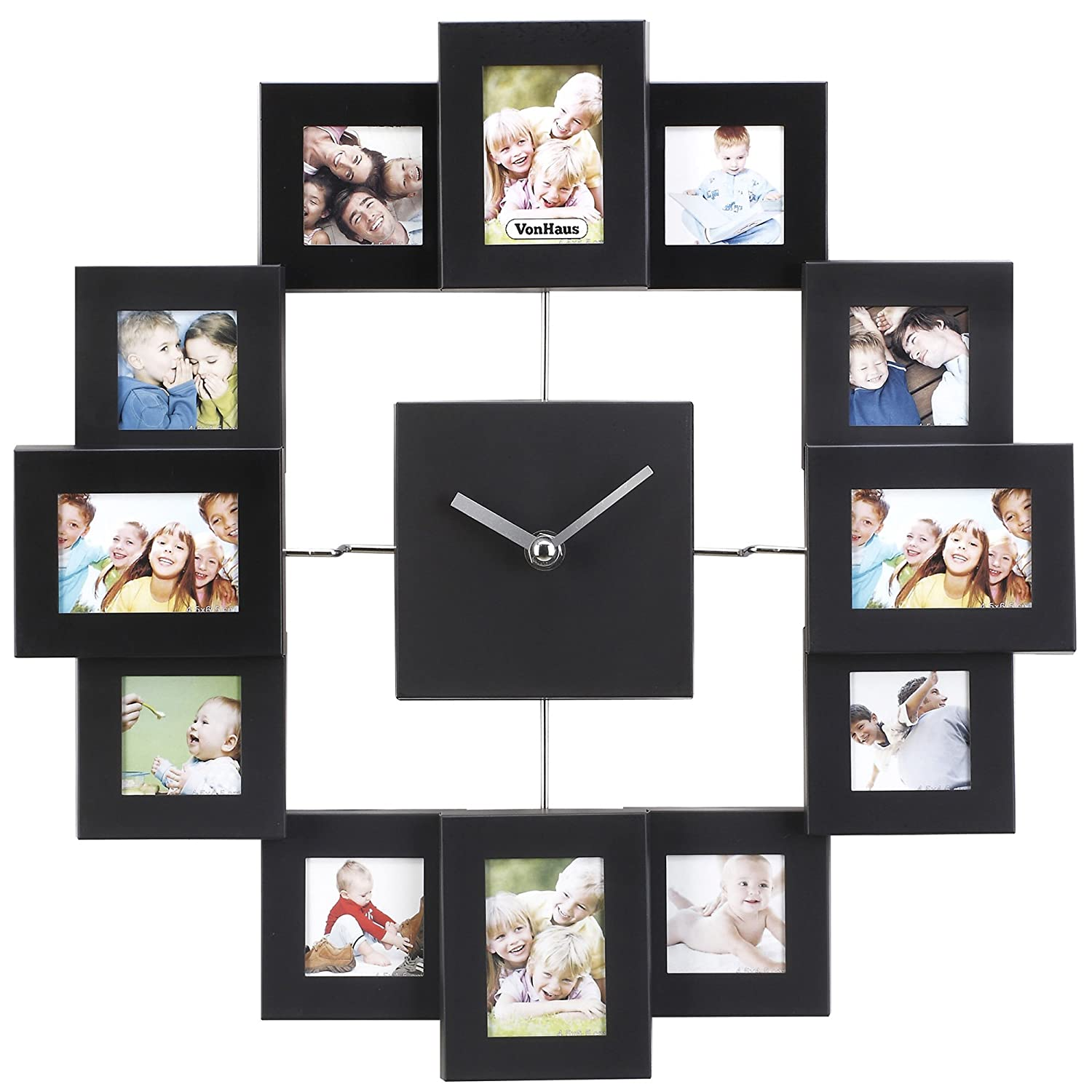 Amazon vonhaus picture frame wall clock 12 mini photo amazon vonhaus picture frame wall clock 12 mini photo frames crop to size friends family pictures aluminum black home kitchen amipublicfo Gallery