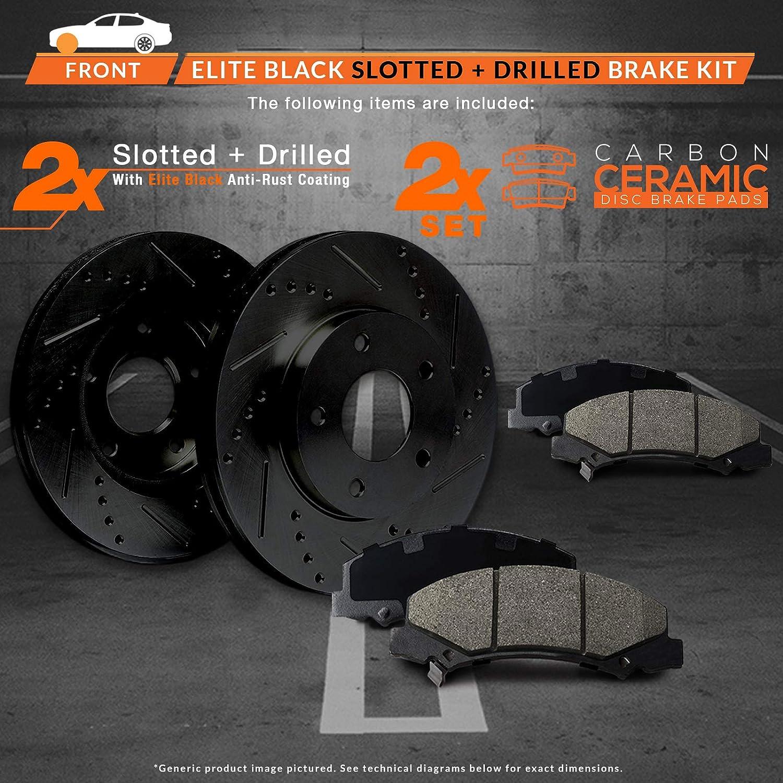 FULL KIT BLACK HART DRILL//SLOT BRAKE ROTORS /& PADS-Honda CIVIC 99-2000 Coupe-Si