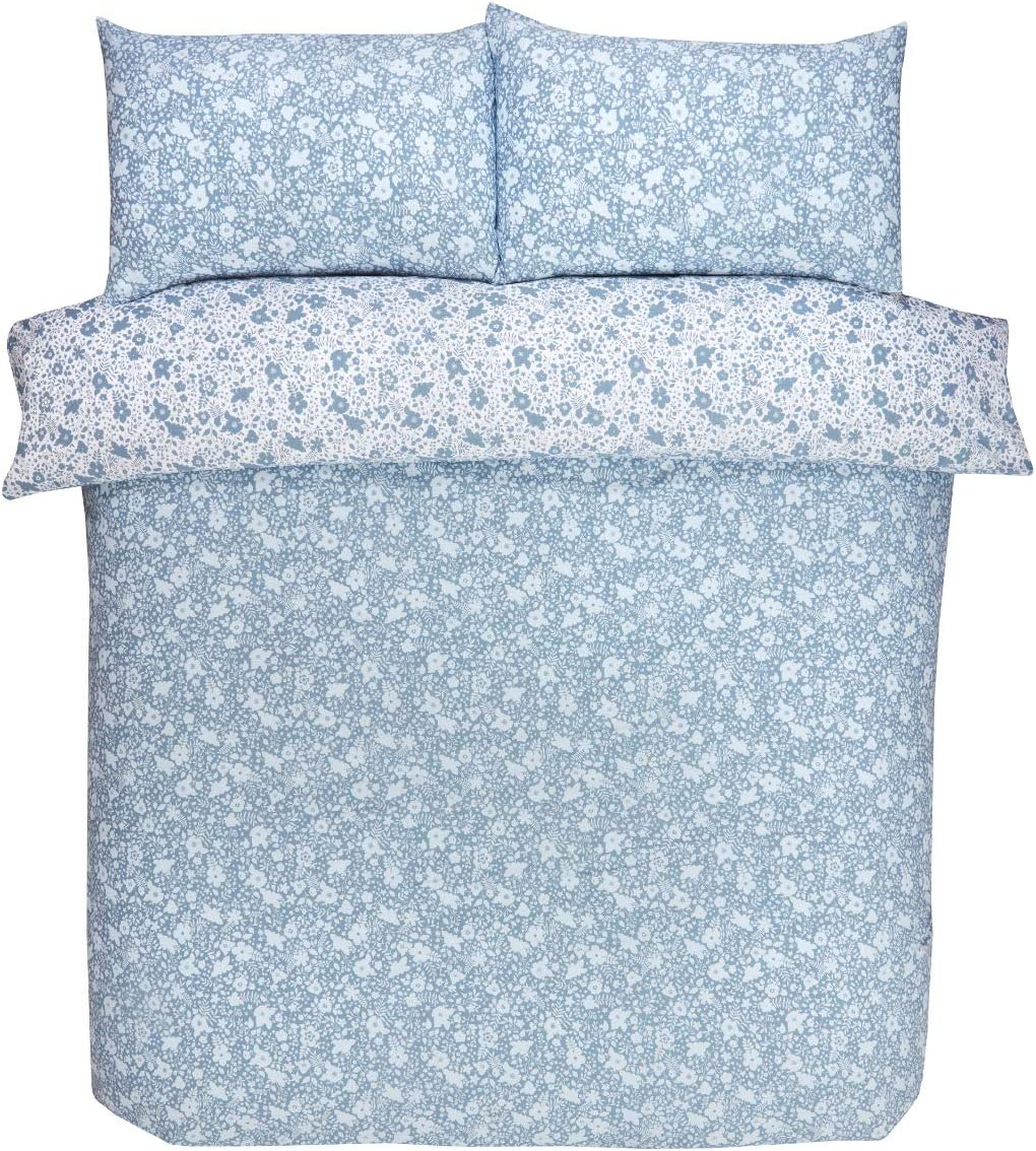 Double Sleepdown Ditsy Floral Blue Reversible Easy Care Duvet Cover Quilt Bedding Set with Pillowcases 200cm x 200cm