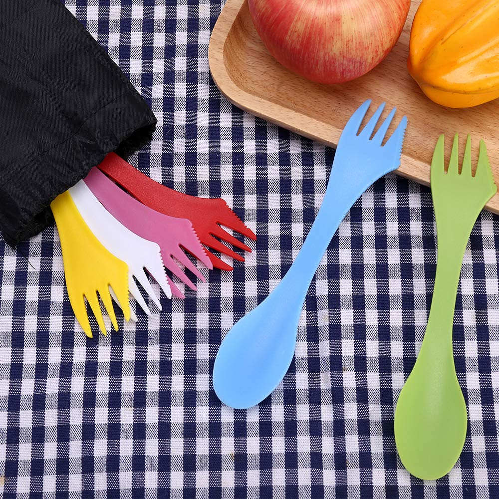 Camping & Outdoor Sporks | Spoon 18 Pack, Durable & BPA Free Tritan Sporks, Spoon Fork & Knife Combo Utensils, Portable Strong Waterproof Bag, with Stainless Multifunctional Bottle Opener, 6 Colors by Vienrose (Image #4)