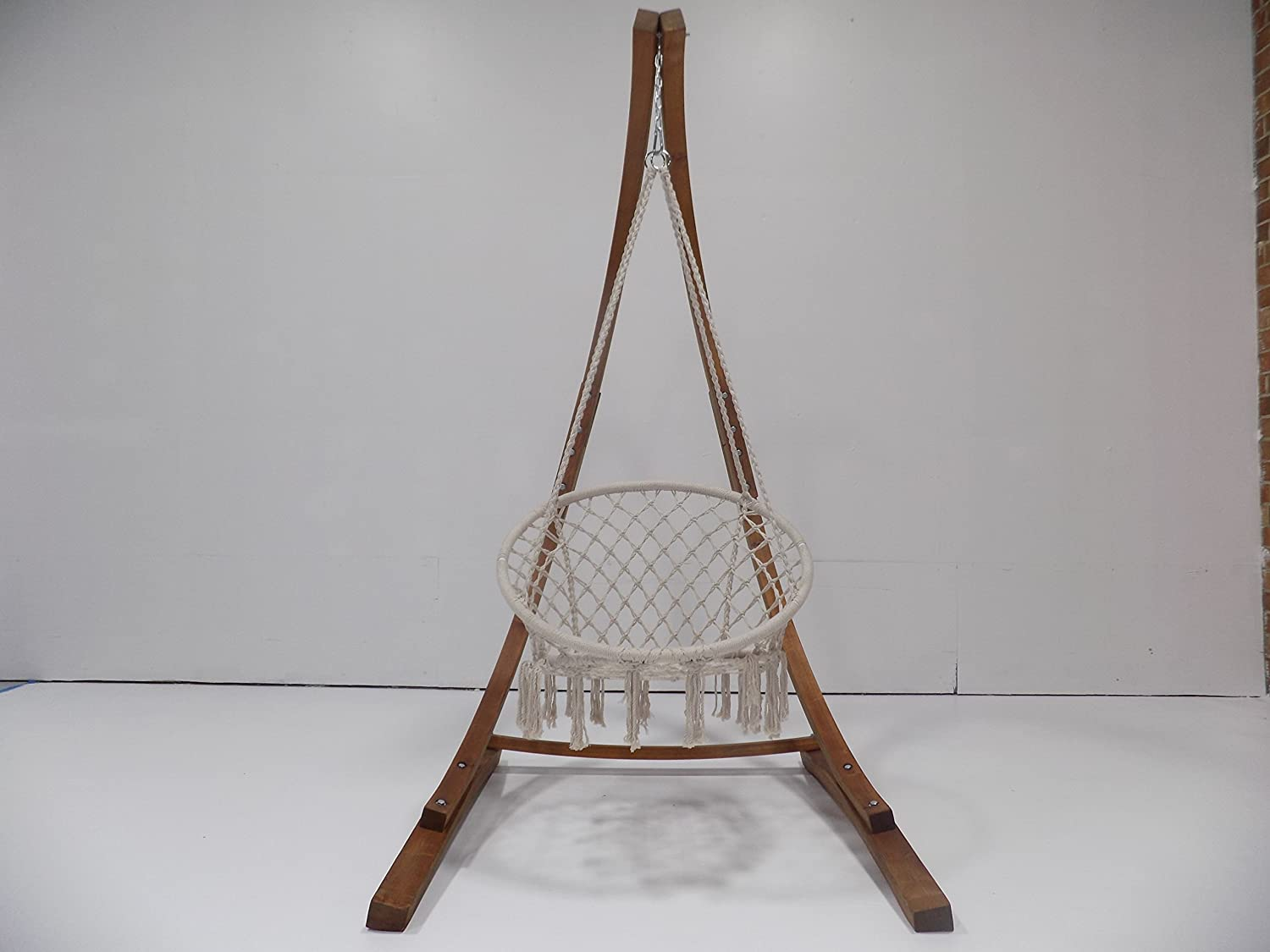 Deck Yard 265LB Weight Capacity. Teak Stain Hammock Chair Stand w//Bohemian Chic Macrame Dream-Catcher Tassel Rope Swing Patio Petra Leisure 7 Ft Garden Perfect for Indoor//Outdoor Home