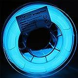 AMOLEN 3D Printer Filament, Glow in the Dark Blue PLA Filament 1.75mm +/- 0.03 mm, 200G(0.44lb), includes Sample Fluorescent Orange Filament - 100% USA