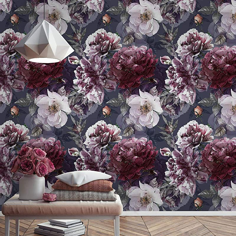 Amazon Com Murwall Floral Wallpaper Vintage Flowers Wall Mural Hydrangea Floral Wallpaper Lilac Rose Wall Mural Entryway Handmade
