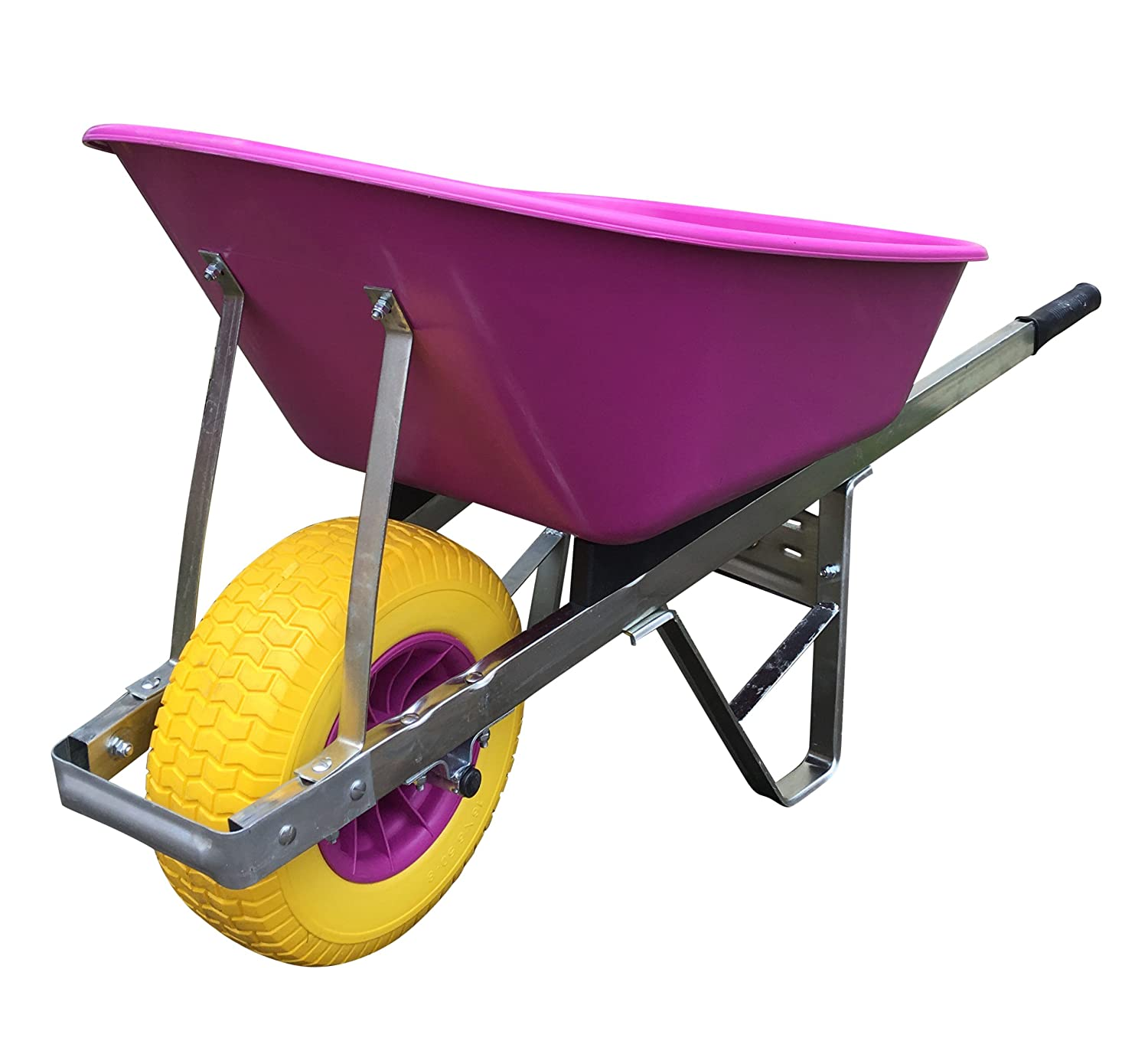 wheelbarrow pink 120L with 150mm wide Puncture-Proof tyre Wheelbarrows Direct Ltd.