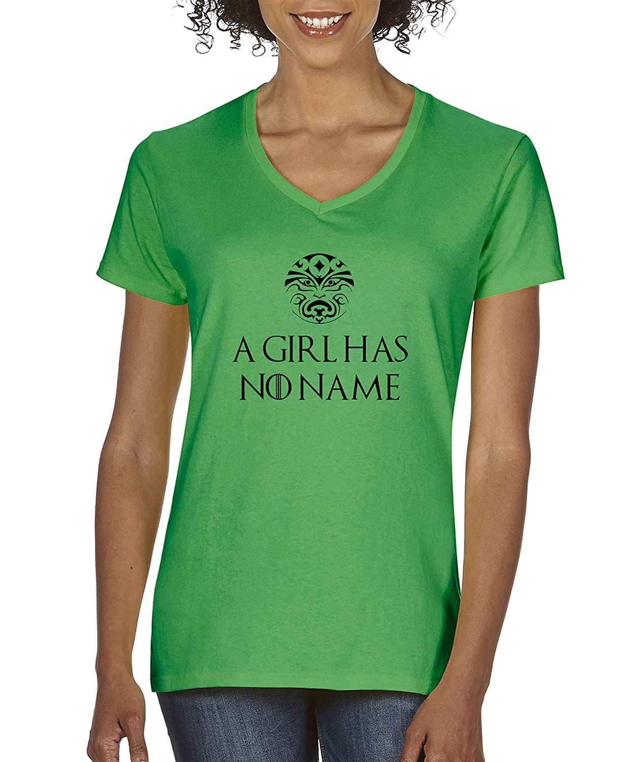 5c407b0d44 Amazon.com: New Way 688 - Women's V-Neck T-Shirt A Girl Has No Name Game of  Thrones: Clothing