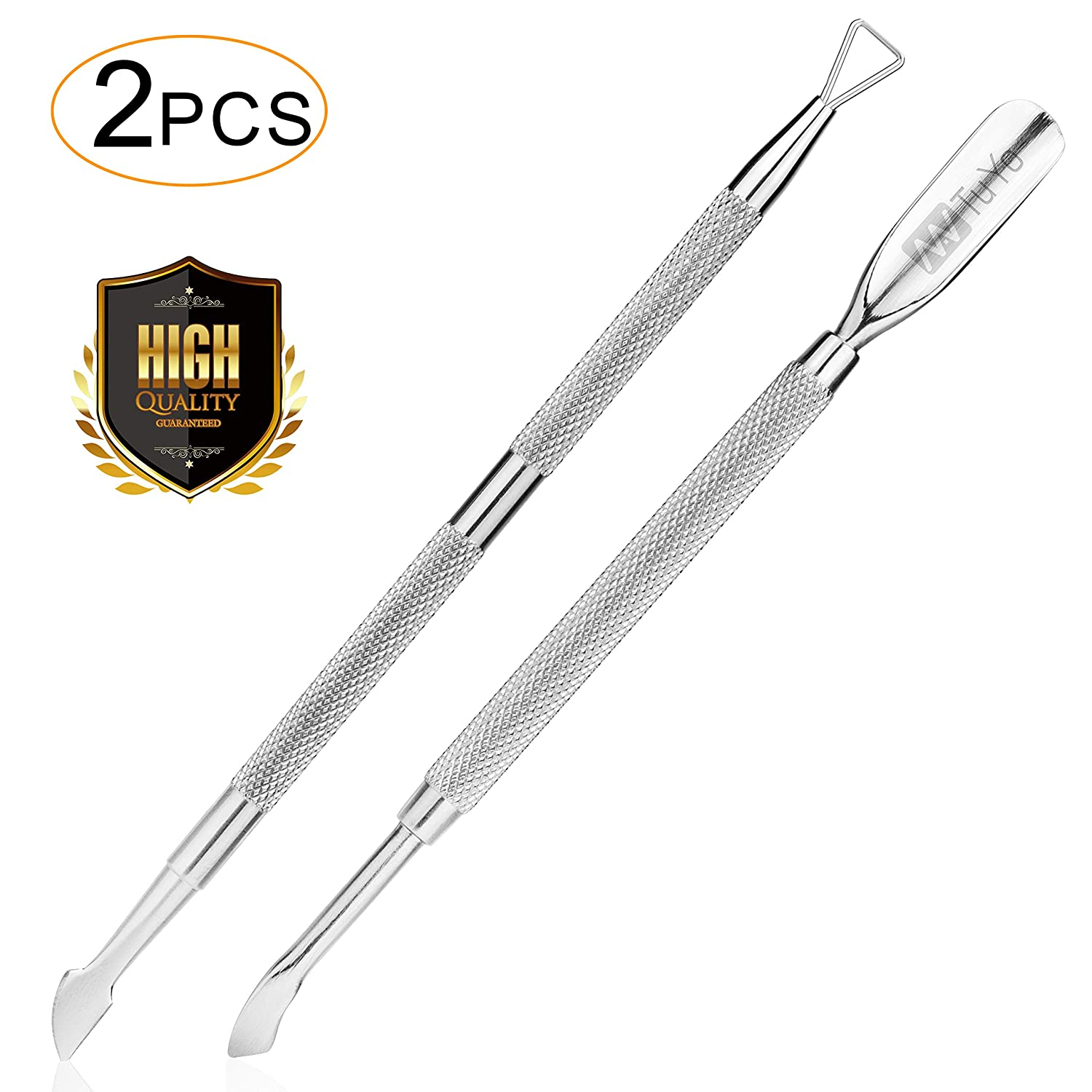 NanTuYo 2PCS Cuticle Pusher and Cutter Set, Triangle Cuticle Nail Pusher Peeler Scraper, Professional Grade Stainless Steel Cuticle Remover, Durable Pedicure Manicure Tools for Fingernails Toenails