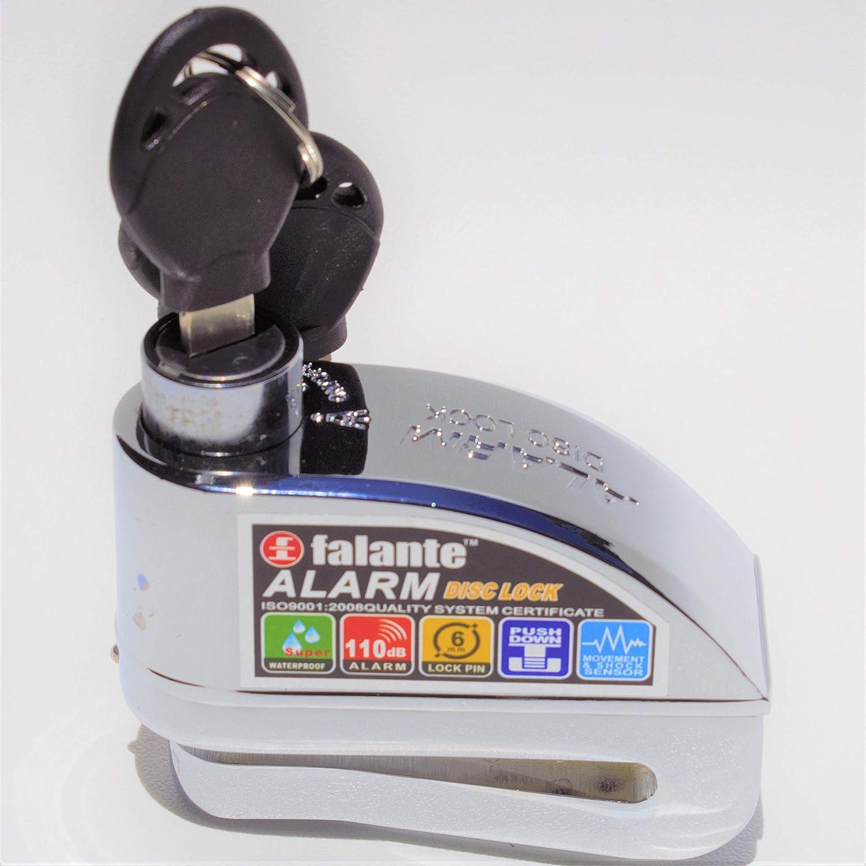 Toro Lock Scheibenschloss mit Alarm 110 dB Diebstahlsicherung aus Stahl f/ür Motorr/äder 6 mm