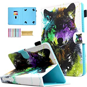 Universal 8.0 inch Tablet Case, AMOTIE Magnetic Closure Flip Stand Cover with Card/Cash Slots for iPad Mini/Galaxy Tab 8.0 Tablet/Amazon Kindle Fire HD HDX Other 8.0 Tablet, Colorful Wolf
