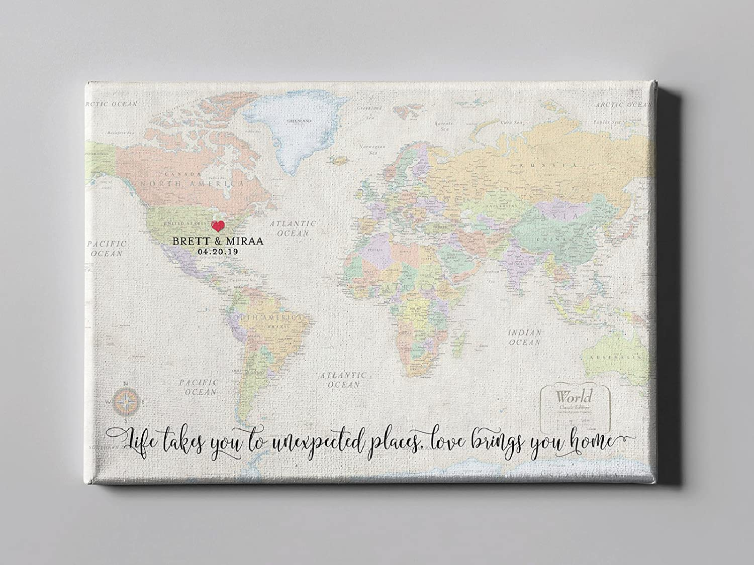 Amazon.com: SALE 50% Off Canvas Guest Book, World Map Guest ...