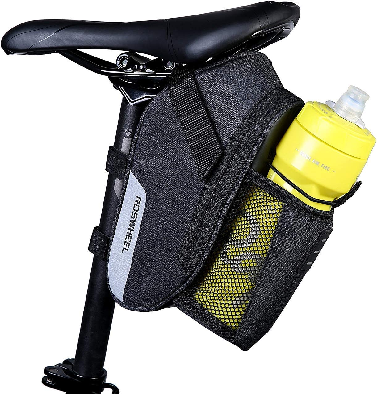 Amazon Com Roswheel Essentials Series 131464 Water Resistant Bike Saddle Bag Bicycle Under Seat Pack Cycling Accessories Pouch With Water Bottle Holder Sports Outdoors