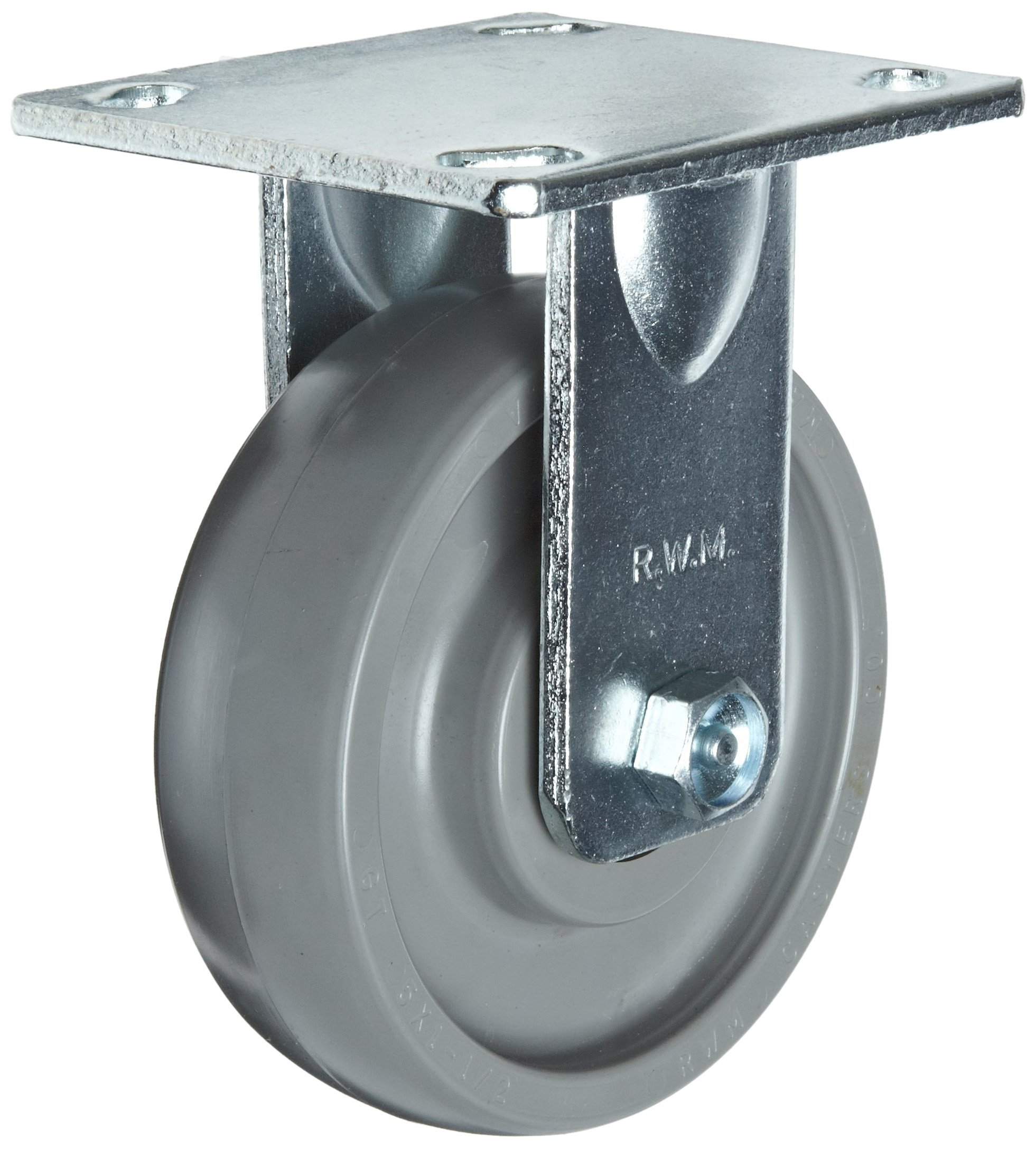RWM Casters S65 Series Plate Caster, Rigid, Kingpinless, Rubber on Aluminum Wheel, Stainless Steel Plate, Stainless Steel Ball Bearing, 1000 lbs Capacity, 8'' Wheel Dia, 2'' Wheel Width, 10-1/8'' Mount Height, 4-1/2'' Plate Length, 4'' Plate Width