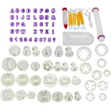 Fondant Sugarcraft Cake Letter Cutters,Thsinde 87 Pcs Cake Decorating Toolst Letter Cutters Icing Modelling Tool Kit Set with ,Rolling Pin, Smoother, Embosser Mould Tools,Scissors
