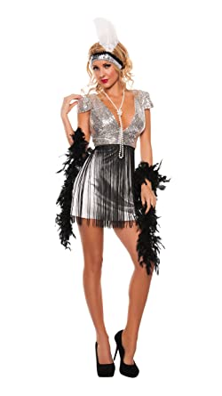 starline womens jazzy flapper sexy roaring 20s 3 piece costume dress set silverblack